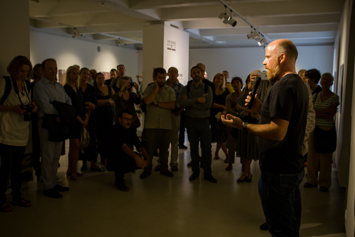 Simon Menner's opening speech in his exhibition at KAUNAS PHOTOGRAPHY GALLERY. September 1, 2018 © Gintarė Žaltauskaitė